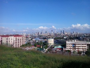 View of Manila from Smokey Mt. -- man-made from garbage
